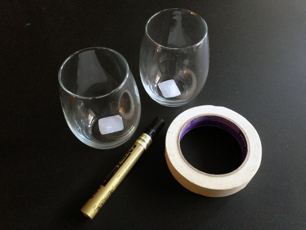 DIY Christmas Glasses Step #1